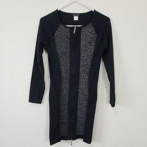 Venus | Black Silver Long Sleeve Knit Dress Small